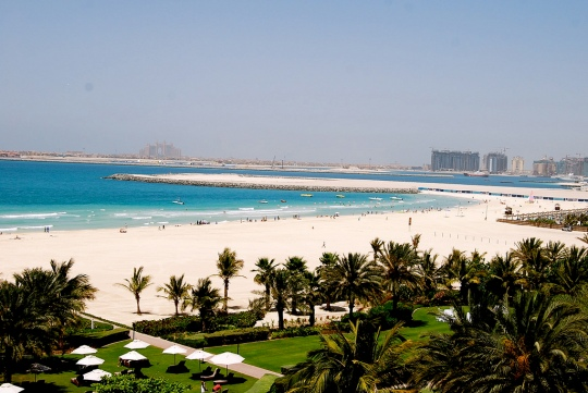 Dubai beach with Atlantis on Palm Jumeirah in the background